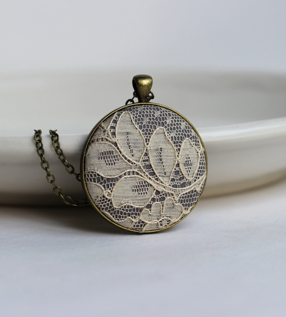 Lace Necklace Unique Gift for Women Wife Mom Teacher Art