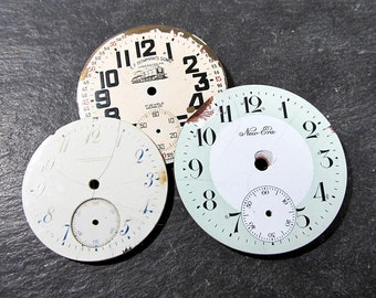 Porcelain Pocket Watch Faces VINTAGE Watch Plates Three (3) Porcelain Enamel Watch Faces STEAMPUNK Watch Jewelry Assemblage Supplies (G297)