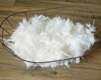 Basket Stuffer, Ivory White Basket Stuffer, Prop Fluff, Feather Fluff, Basket Filler, Newborn Props, Natural Props, Organic Props, RTS, Baby