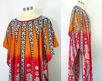 Batik Cotton Ethnic Print Caftan // One Size Vintage Kaftan 1970s 1980s