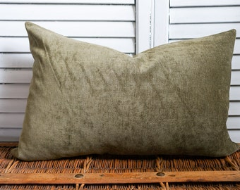 Dark sage velvet pillow cover