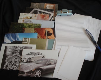 10 Upcycled Envelope Stationery Set – Assorted Prints Made from Magazines