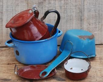French Enamelware, Small and Miniature Enamel kitchen utensil, Country kitchen decor