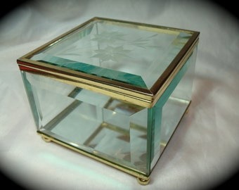 1992 Beveled Glass Trinket Box with Etched Flowers.