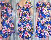 1960s Hawaiian Dress, Ui-Maikai Blue Cotton Luau Short Sleeved Dress with Pink Hibiscus Flower Print, Floral Midi, Medium - Large