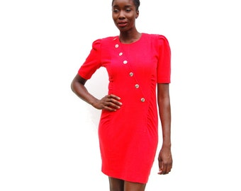 SALE!!!!!!!!!! Ribbed stretch knit red mini dress with diagonal gold buttons 1990s 90s VINTAGE