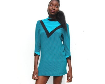 Teal and black striped high neck silk mini dress 1980s 80s 90s VINTAGE