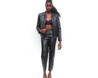 Two piece leather jacket and pant set biker chic 1990s 90s VINTAGE