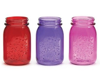CLEARANCE Mason Jars 16oz Pink Red Purple-set of 3