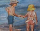 Children at the Beach, Children portrait, Beach House Art, Child portrait, Custom Portrait, Child Art, Original Oil by Carol DeMumbrum