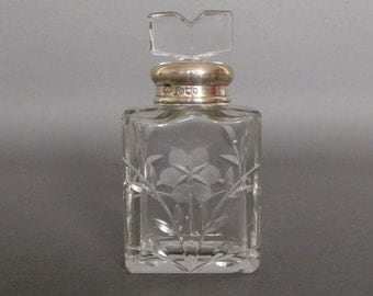 Perfume Bottle, Silver and Glass, English 1920's