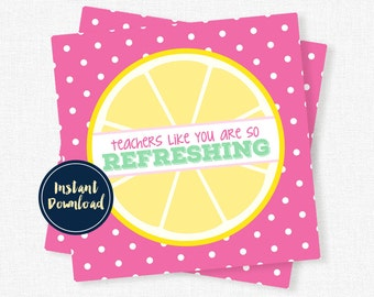 Teacher Gift Tags, Teacher Appreciation Tag, Refreshing Teacher Gift, Teacher Printable INSTANT DOWNLOAD