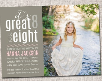Baptism invitation, boy baptism invitation, girl baptism invitation, modern baptism invitation, baptism invite (It's Great to be Eight LDS)