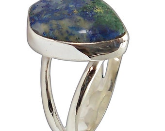 Azurite Malachite and Sterling Silver Ring, Size 8-1/4  r825azmf2600