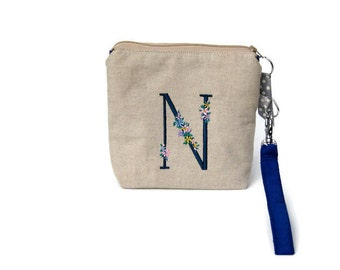 Personlised wristlet purse, wristlet bag, personalised purse,  initial embroidered purse, cell phone pouch, dark blue cotton and beige linen
