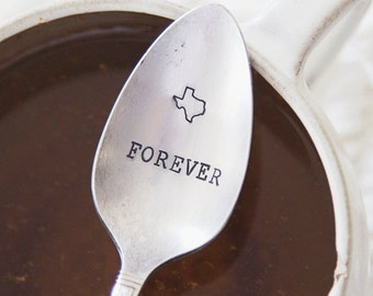 Texas Forever - Hand Stamped Vintage Coffee Spoon for COFFEE LOVERS