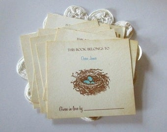 Custom Baby Boy Birds Nest Bookplates, Personalized Bookplates, Baby Boy Shower Ideas