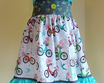 Girls Dress,Summer Dress,Toddler Dress,Preschool Dress,Bicycles,Back to School Dress,Ellie Halter Dress, Sizes 12MO,18MO,2T,3T,4T,5T, 6T,7,8