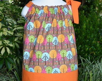 Fall Pillowcase Dress - fall trees fall baby dress toddler fall outfit fall dress autumn dress orange and brown Thanksgiving dress