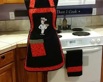 """Apron, full, bibbed, Black, red, watermellon, """"The Sassy Chef """", cook, venders WITH MATCHING TOWEL"""