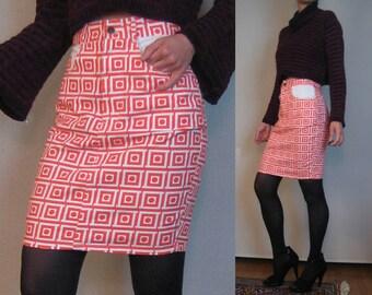 80s CHECKERED SQUARES DOTS vtg Geometric European Ladybug Red Orange White Printed Cotton Denim Mini Pencil Skirt Pockets xs Small 1980s