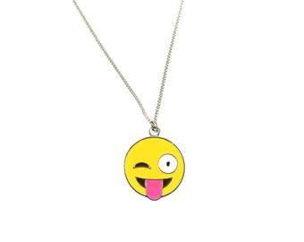 Crazy Tongue Winking Enamel Emoji Face Charm Necklace