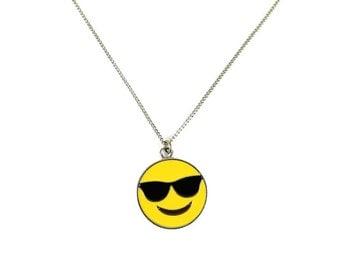 Cool Guy Sunglasses Enamel Emoji Face Charm Necklace
