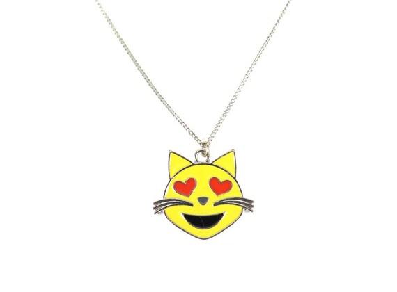 Heart Eyes Kitty Cat Enamel Emoji Face Charm Necklace