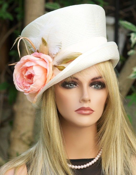 Kentucky Derby Hat, Wedding Hat, Formal Hat. Derby Hat, Ascot Hat, Occasion Hat, Cream Ivory Hat, Mad Hatter