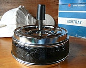 Star Brand Vintage Ashtray Black and Chrome Mad Men style Cyclone ashtray with Original Box Made in Hong Kong
