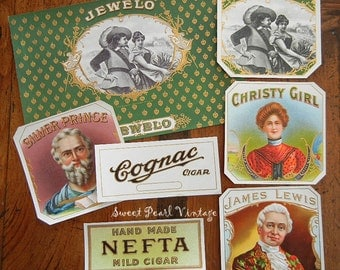 Vintage cigar box labels Lot of 7 brilliantly colored unused old stock ephemera tobacciana embossed scrapbooking altered art