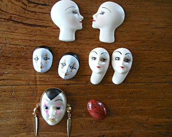Lot of 7 Craft Faces for your cardmaking doll making altered art scrapbooking projects plastic red cabochon destash
