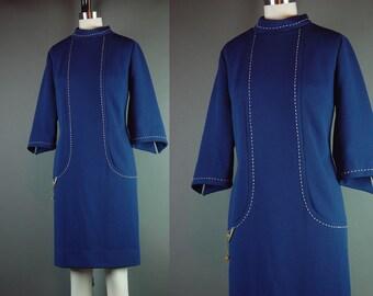 """60s Dress Mod Navy Blue Vintage 1960s Knit Julie Miller Career Split Sleeve Party Whipstitch  L B 38"""""""