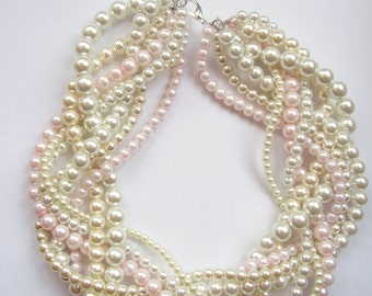 bridal blush ivory white pearl necklaces braided twisted chunky statement pearl necklace bridesmaid custom order necklaces