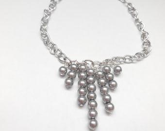 Grey pearl necklace fringe fan drop dainty silver chain necklace