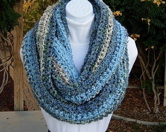 READY To SHIP Infinity Scarf, Large Loop Cowl, Light Blue Gray Grey Off White Striped OOAK Big Wide Extra Soft Crochet Knit Winter Circle