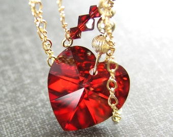 Swarovski Crystal Red Heart Necklace 14K Gold Fill Chain Necklace Red Crystal Heart Pendant Necklace Garnet Red Heart Valentines Day