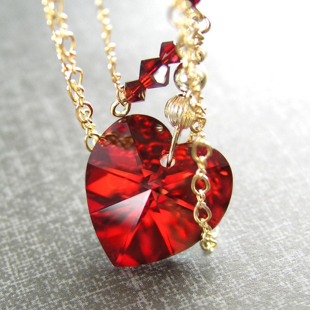 swarovski crystal red heart necklace 14k gold fill chain. Black Bedroom Furniture Sets. Home Design Ideas