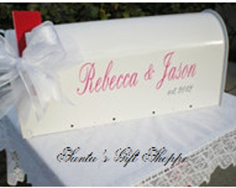 Wedding Card Mailbox Decal - (MAILBOX NOT INCLUDED) -Personalized - 4 Vinyl Decals - Wedding Gift Card Holder - Wedding Reception