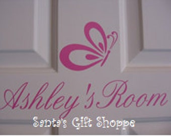 Vinyl NAME Wall Decal plus Butterfly - Children - Nursery - Home Decor