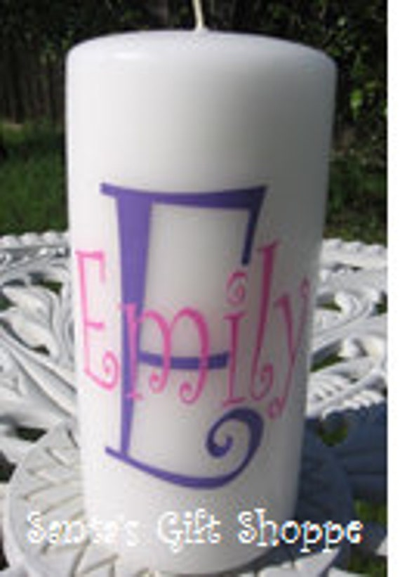 Monogrammed Initial/Name Decal for Candle - Vinyl Decals  - DIY - Home Decor - Custom Gift - Easter - Teenagers