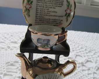 Vintage Mini Tea Pot Cup and Saucer 10 Commandments Bible with Stand Miniature G NOV Japan Toy Size