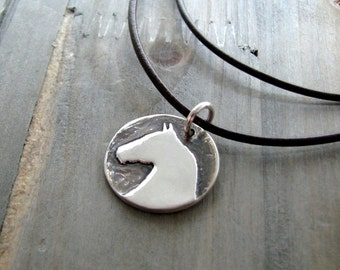 Personalized Horse Pendant, Artisan Handmade Fine Silver, Horse Jewelry by SilverWishes, Recycled Silver