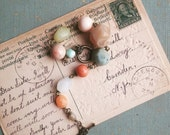 Colorful Beaded Bracelet, Chunky Vintage Bead Bracelet, Shabby Chic Rosary Style Bracelet, Eco Friendly Jewelry for Women