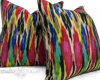 Ikat Velvet Pillow Covers  - Velvet - Set of TWO - Decorative pillow covers - 20 inch - Iman - Painted Pavillion - Jewel - ready to ship
