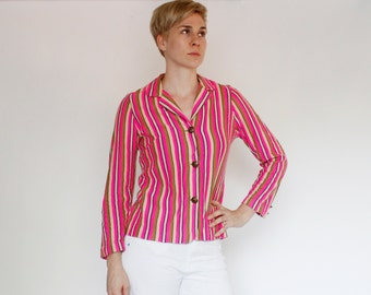 Vintage 60's acrylic blazer jacket, stripes, beon pink, tan, beige, & navy blue, embossed crest buttons, soft / stretchy, Peggy Lou - Small