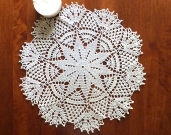 SALE -20% Crochet doily - Christmas lace doily - Christmas table decor - gold glittering doily - Christmas table centerpiece ~16.5 inches