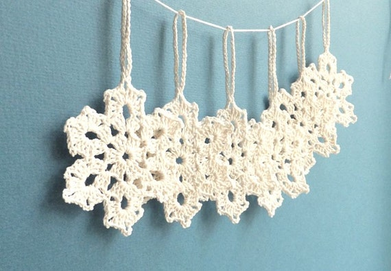 Crochet snowflakes - holiday decorations - Christmas decorations - holiday ornaments - Christmas tree decoration - set of 6 ~2.8 inches