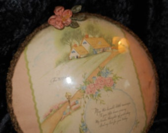 x Antique Mother Plaque under Domed Glass with gold bullion metallic trim and Ribbon Work accent (FF072615-02)