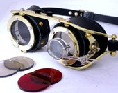 Steampunk Goggles Victorian Theatrical Goth Industrial Brass LARP All Black - Exclusively from Steampunkdesign